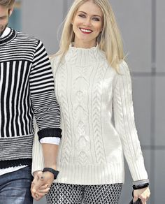 Схема и описание вязания на спицах белого свитера с «косами» из журнала «Verena. Спецвыпуск» №4/2015