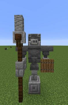 Minecraft — Statue idea: you can use blast furnaces as helmets. Minecraft — Statue idea: you can use blast furnaces as helmets. Casa Medieval Minecraft, Villa Minecraft, Art Minecraft, Minecraft Statues, Minecraft Structures, Minecraft House Tutorials, Minecraft Castle, Minecraft Plans, Amazing Minecraft