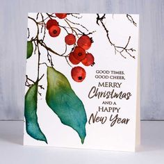Heather Telford: Penny Black Christmas Berries, Winter Branches, and Joyful Wis… – Christmas DIY Holiday Cards Watercolor Christmas Cards, Christmas Card Crafts, Homemade Christmas Cards, Christmas Drawing, Watercolor Cards, Xmas Cards, Handmade Christmas, Painted Christmas Cards, Christmas Projects
