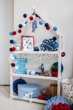 montessori shelf ideas, montessori toy storage, Kids bedroom house shaped shelf or wooden house shelf, nursery shelf Organizing Kids Books, Nursery Wall Shelf, Childrens Book Shelves, House Shelves, Thing 1, Kids Bedroom, Bedroom Ideas, Painted Books, Toy Organization