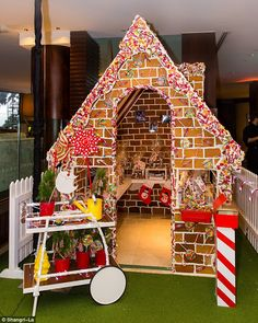 Christmas wonderland: Anna Polyviou has unveiled her annual life-size gingerbread house in Sydney