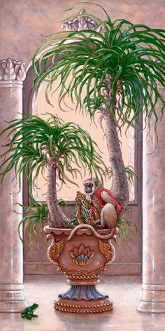 Royal Pet I1, a painting of a royal pet monkey playing a harp on a potted palm tree, one of Janet Kruskamp's original paintings, by artist Janet Kruskamp
