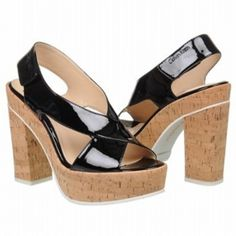 SALE - Calvin Klein Tamra Platform Heels Womens Black Leather - Was $129.00 - SAVE $13.00. BUY Now - ONLY $116.10