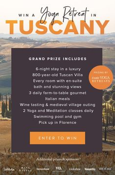 Win a Tuscan Yoga Retreat! Dream Vacations, Vacation Spots, The Places Youll Go, Places To See, Me Time, Win A Trip, Look Here, Hallmark Channel, Tuscany Italy