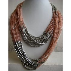 Statement Necklace Peach/Multi Strand Necklace/Chunky Necklace/Beaded Necklace/Bib Necklace/Beaded Jewelry $27