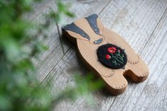 Wooden toy badger