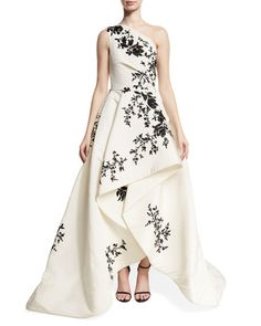 Monique Lhuillier One-Shoulder High-Low Draped Gown