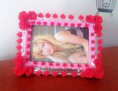 "Cute Red Handmade Roses Flower Home Decor Photo Frame Perfect Gift 4"" × 6"" #Handmade #Shabbychic"