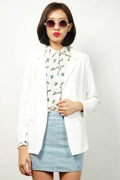 White Blazer, Sparrow Print Blouse, & Light Denim Pencil Skirt | RUNWAY BANDITS Oversized Blazer, Light Denim, Jean Skirt, Runway, Pencil, Sunglasses, Blouse, Skirts, Tops
