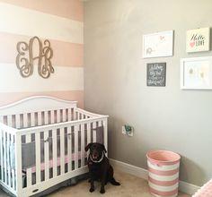 Ellies nursery part one. Vintage, pink, grey, gold :)