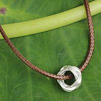 Men's sterling silver pendant necklace, 'Endless Knot'