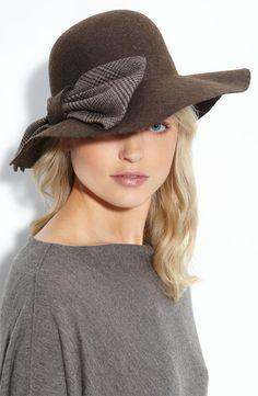 Floppy Wool Felt Hat with Plaid Bow