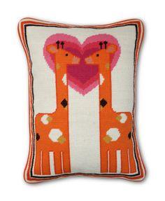 nursery needlepoint giraffe pillow