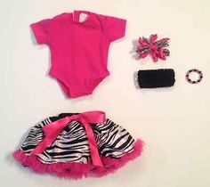 """NEW, 18"""" or American Girl Doll Outfit, Zebra Pettiskirt, Leotard, Accessories"""