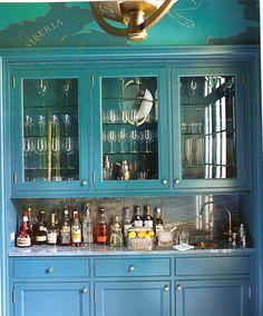 Turquoise bar. Miles Redd. @Kathryn Whiteside David For our wet bar??