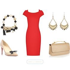 """Red Dress For a Wedding Guest With Neutral Accessories"" by dressforthewedding on Polyvore"