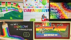 Collage of Rainbow Bulletin Boards to Brighten up Your Classroom