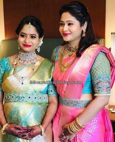 How to Get A Designer Saree Look with a Simple Saree belted. - How to Get A Designer Saree Look with a Simple Saree belted blouse, blouse des - Wedding Saree Blouse Designs, Pattu Saree Blouse Designs, Half Saree Designs, Blouse Designs Silk, Designer Blouse Patterns, Latest Blouse Designs, Latest Blouse Patterns, Wedding Blouses, Saree Wedding