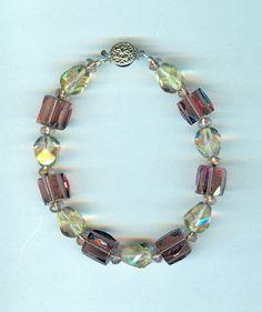 Handmade Amethyst and Chrysolite Crystal Chunky Bracelet