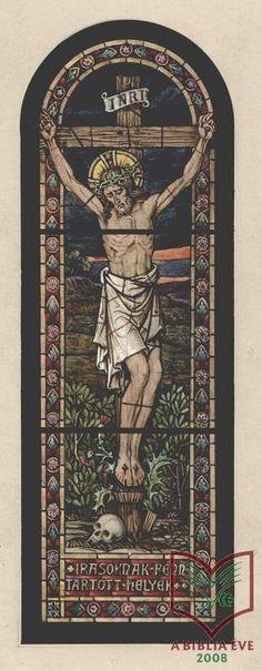 Róth Miksa: Krisztus a keresztfán - üvegfestmény terv, akvarell, papír, 1900 körül