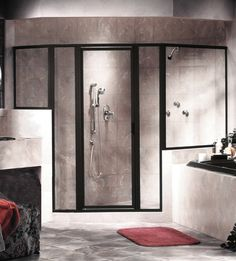 Interior, : Excellent Shower Glass Door Design Black Stainless Frame With Contemporary Bathroom Interior With Modern Tile Pattern