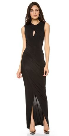 Keyhole draped evening dkny