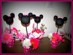 Minnie Mouse Birthday Centerpieces (set of Mickey Birthday, 4th Birthday Parties, Birthday Fun, Birthday Ideas, Mickey Party, Minnie Mouse Decorations, Minnie Mouse Cake, Mickey Mouse, Birthday Centerpieces