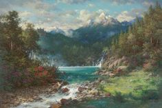 Peaceful Dwellings landscape nature waterfall forest floral oil, Archival Ink-Jet, Larry Dyke