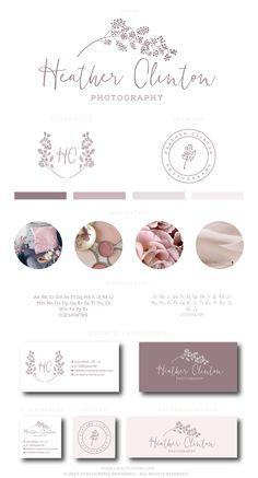 Premade Logo Design, Boutique Wreath Logo, Floral Monogram Logo, Wedding Logo Design, Small Business Branding, Florist Branding Package by PeachCreme