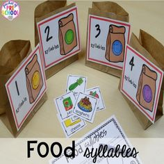 Food syllables game! Plus tons more Food and nutrition centers for preschool, pre-k, and kindergarten. Reading, writing, math, fine motor, STEM, and art. #NutritionTheme