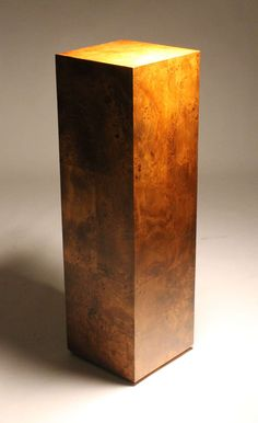MIlo Baughman Tall burl wood Pedestal Base - style of Paul Evans | From a unique collection of antique and modern pedestals at https://www.1stdibs.com/furniture/tables/pedestals/