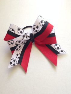 Red and White Soccer with a Black Glitter Center by DarleneOs