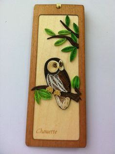 Special Bookmark Owl Standing on a Tree Quilling Paper Filigree Wood Handmade | eBay