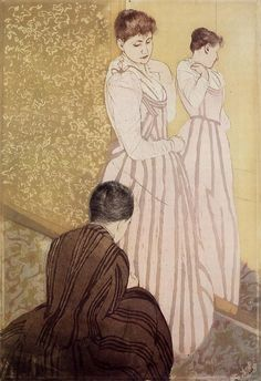 Young Woman Trying On A Dress. Mary Cassatt