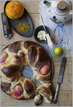 Tsoureki Greek Easter Bread spiced with Cardamon, Orange Peel, and Boiled Easter Eggs!