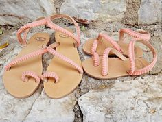 Mom and Me Mermaid Pom pom Sandals This cute pair of mommy and me handmade leather stripe sandals is a must have for this summer. These sandals are