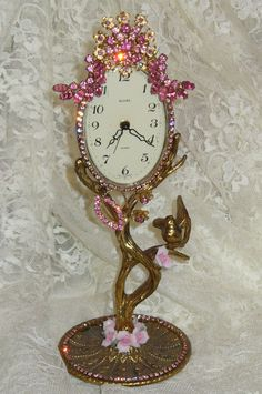 Beautiful Vintage Mason Clock 25 Bejeweled Porcelain Roses Brass Bird Delicate Florals-Weiss, Juliana,brush, comb, vintage, Clock,tray, mirror, perfume, antique, vintage, victorian, Sparkle,
