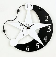 Sunonline Creative Star And Moon Personality Fashion Art Clock For Bedroom Nonticking Quartz Clock ** Click image to review more details.