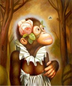 """100 Handcrafts Oil Painting on Canvas Monkey Portraits 20x24"""" Inch 