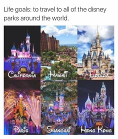 Hawaii doesnt have a disneyland park, however it does have a disney hotel. Plus this is missing disneyland tokyo. Vacation Places, Dream Vacations, Places To Travel, Funny Vacation, Vacation Spots, Disney Trips, Disney Parks, Walt Disney, Disney Resorts