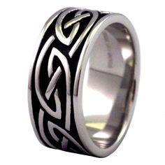 CELTIC TRIBAL KNOT PATTERN SILVER RHODIUM IP WEDDING 4.5MM BAND MENS WOMENS RING