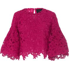 Costarellos     Guipure Lace Bell Sleeve Top ($695) ❤ liked on Polyvore featuring tops, pink, purple crop top, lacy tops, flared sleeve top, purple top and bell sleeve crop tops
