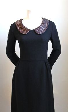 1960′s MARY QUANT black wool dress with silk collar & cuffs