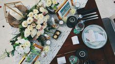 Romantic gold white table decoration • Divine project bali