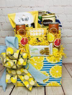 Lemon coated chocolate almonds, lemon acrylic plate & glasses, lemon cookies & cake🍋 Customized Gifts, Personalized Gifts, Lemon Cookies, Corporate Gifts, Almonds, Gift Baskets, Gift Wrapping, Plates, Chocolate