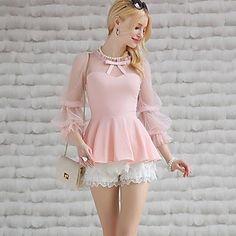 Розовая кукла Женская Кружева Сращивание Puff рукавом Футболка – USD $ 30.59