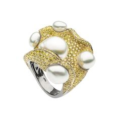 autore_ coral ring_Essential collection_Black Gold with Yellow Diamonds and South Sea Keshi pearls.jpg