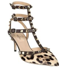 VALENTINO 65mm Rockstud Leopard Ponyskin Pumps found on Polyvore