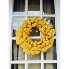 Mustard Yellow Burlap Wreath (£21) ❤ liked on Polyvore featuring home, home decor, handmade home decor, burlap wreath, handmade wreaths, burlap home decor and mustard yellow home decor