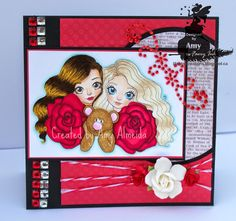 Handmade card I made using Snow White & Rose Red Digital Stamp from Faery Ink Designs.